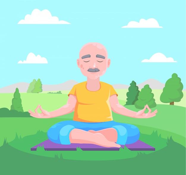 Älterer mann meditiert, sitzend auf teppich