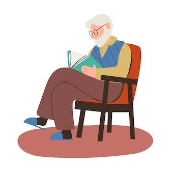 Älterer mann mit bart sitzt auf einem stuhl und liest eine buchvektorillustration im flachen cartoon-stil