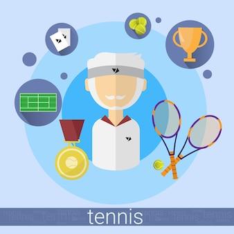 Älterer mann tennis player icon