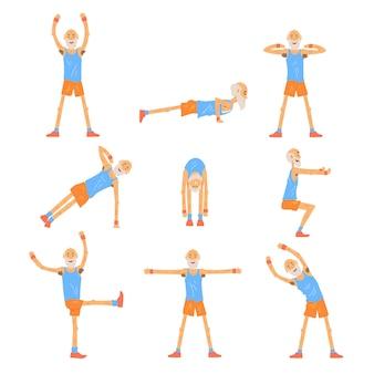Älterer manncharakter, der satz, rentner des gesunden aktiven lebensstils, ältere fitnessillustrationen ausübt