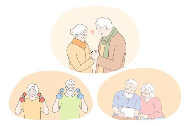 Älteres älteres ehepaar, das glückliches aktives lebensstilkonzept lebt. reifes gealtertes paar, das fitness macht