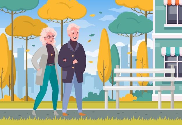 Älteres älteres paar, das hand in hand im freienkarikaturzusammensetzungsherbstwetterstadt geht