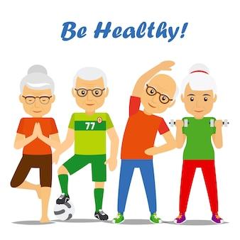 Älteres alter verbindet gesundes konzept