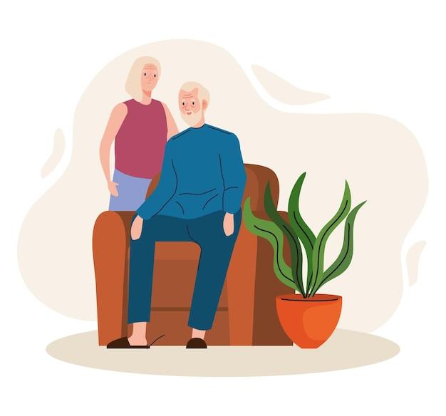 Älteres altes ehepaar, das in den wohnzimmerfiguren sitzt