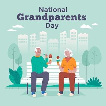 Älteres ehepaar, das den nationalen großelterntag der eiscreme isst
