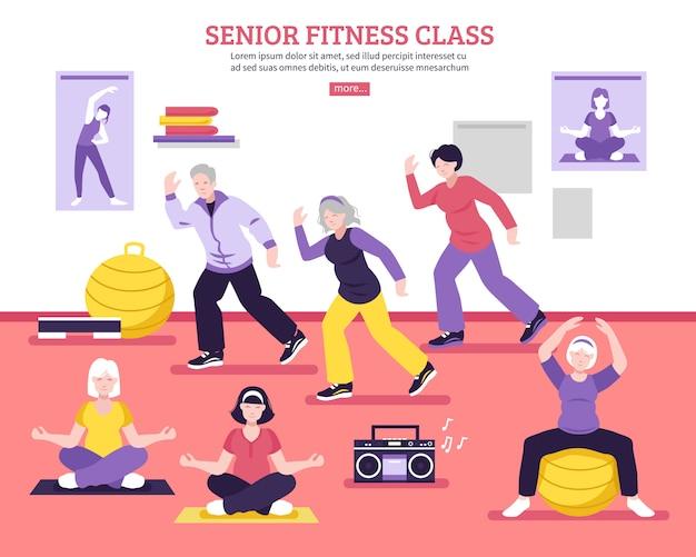 Älteres fitness-klassen-flaches plakat