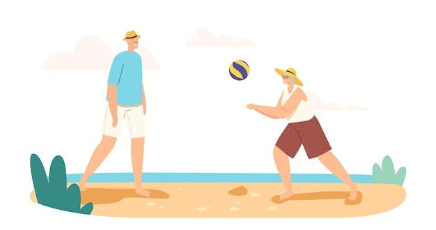Älteres paar, das beach-volleyball am meer spielt, werfen ball zueinander. im alter von familienfiguren freizeit, glückliche großeltern sommererholung, spiel am meer. cartoon-menschen-vektor-illustration