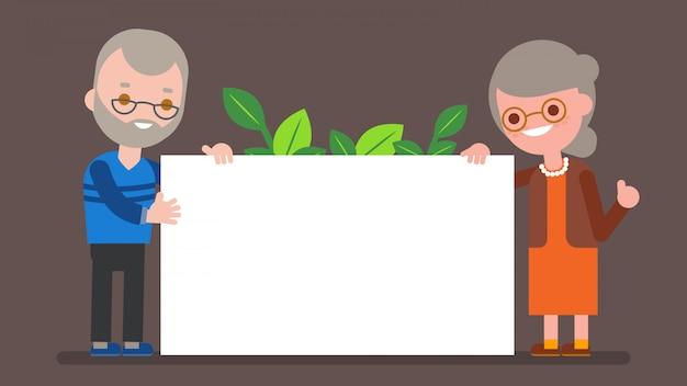 Älteres paar, das leere weiße tafel hält. glücklicher großelternteil, der mit großem weißem plakat steht. vektorkarikaturcharakterillustration.
