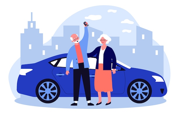 Älteres paar, das mit dem auto reist