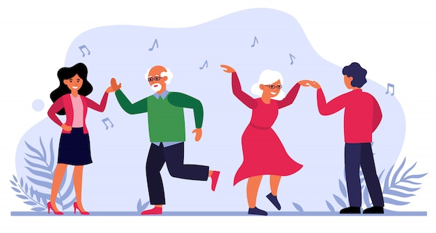 Älteres paar, das mit jungen leuten tanzt