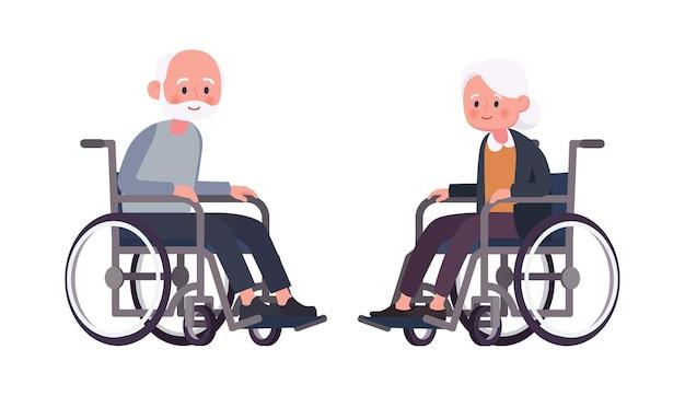 Älteres paar im rollstuhl auf einem flachen hintergrund des weißen hintergrunds