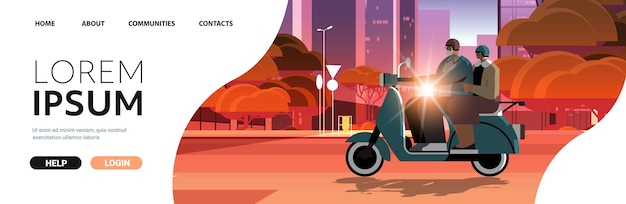 Älteres paar in helmen, das roller auf der stadtstraße fährt, großeltern, die auf dem aktiven alterskonzept des mopeds reisen
