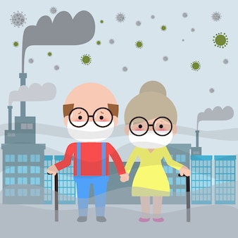 Älteres paar in masken wegen feiner staubillustration