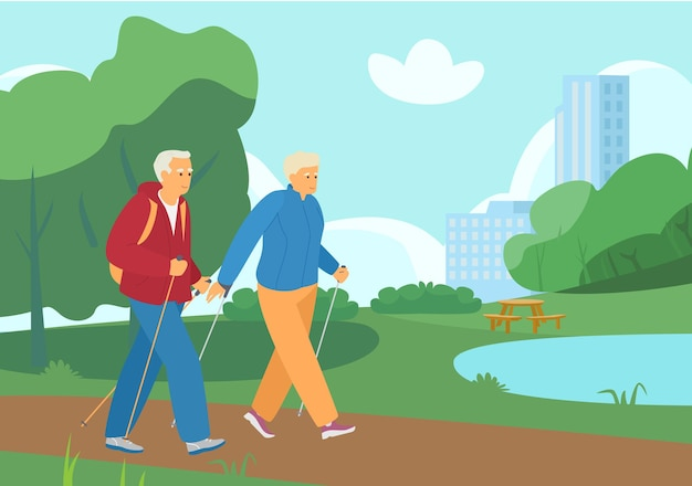 Älteres paar nordic walking im sommerpark. aktiver ruhestand. gesunder lebensstil.