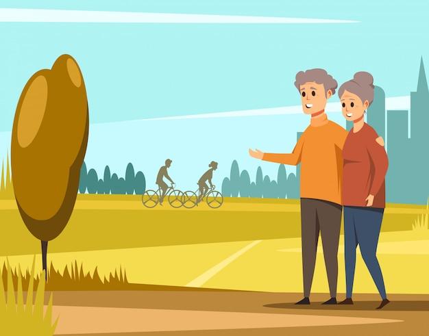 Älteres paar zusammen spazieren