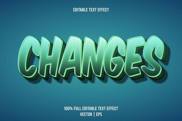 Ändert den bearbeitbaren texteffekt 3-dimensionaler präge-cartoon-stil