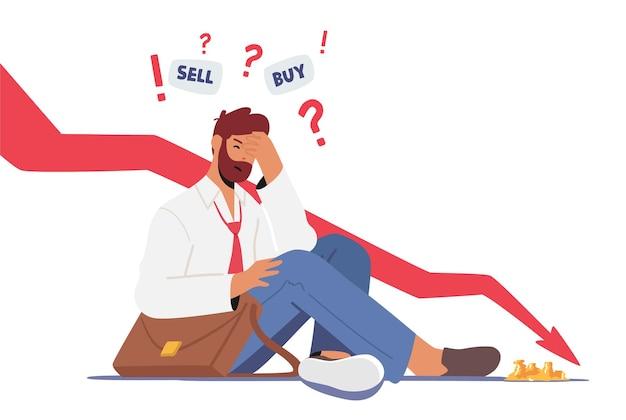 Ängstlicher geschäftsmann, der in der nähe von drop arrow chart sitzt und denkt, anleihen zu kaufen oder zu verkaufen