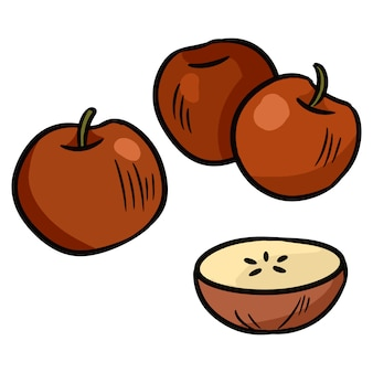 Äpfel buntes gekritzel. aufkleber