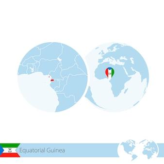 Äquatorialguinea auf der weltkugel mit flagge und regionaler karte von äquatorialguinea. vektor-illustration.