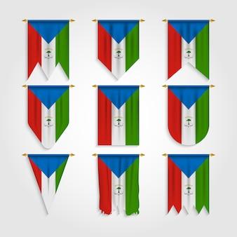 Äquatorialguinea flagge in verschiedenen formen, flagge von äquatorialguinea in verschiedenen formen
