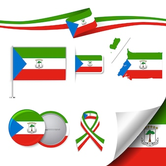 Äquatorialguinea flagge mit elementen