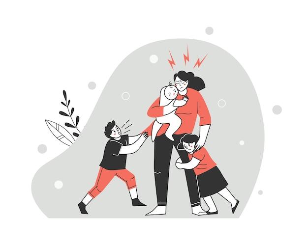 Ärger mit der familie. reizung und kinderermüdung der mutter. karikaturvektorillustration.