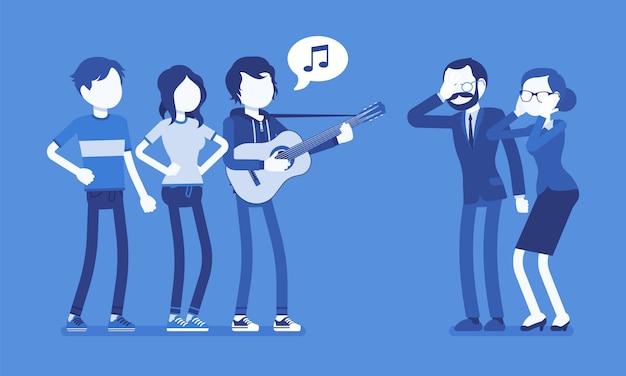 Ärgerlicher musikkonflikt. gruppe junger leute mit gitarre und menschen mittleren alters in stress mit lautem lärm, moderner gesang macht wütende, gereizte eltern. illustration mit gesichtslosen zeichen