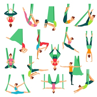 Aero yoga dekorative icons set