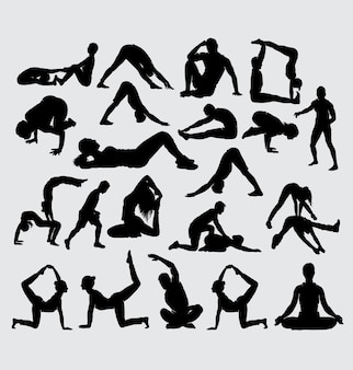 Aerobic yoga stretching und fitness sport silhouette