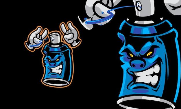 Aerosol-sprühfarbe maskottchen vektor-logo-illustration