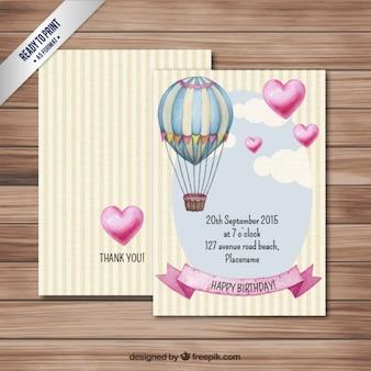Aerostatischen ballon-geburtstagskarte