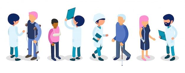 Ärzte, behinderte menschen. menschen mit behinderungen isometrisch. verletzung invaliden defekte männer frauen kind, medizinisches personal 3d menschen
