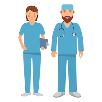 Ärzte charaktere. medizinisches krankenhauspersonal menschen. chirurg mann und frau.