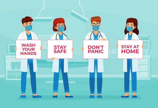Ärzte, die banner halten, bleiben sicher. ärzte in medizinischer maske halten banner mit ratschlägen