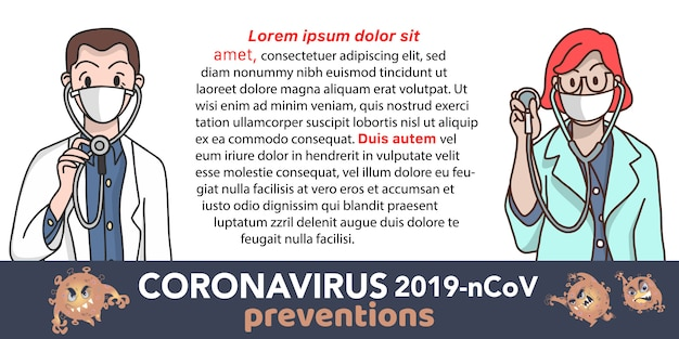 Ärzte empfehlen die vorbeugung von coronavirus (covid-19).