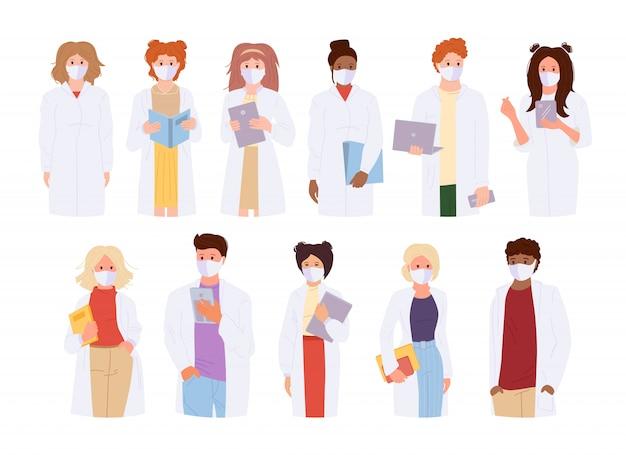 Ärzte in mantel und medizinischer maske. coronavirus flache karikatur internationale gesichtsmaske sanitäter menschen