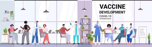 Ärzte in masken, die mix-race-patienten impfen, um gegen das horizontale banner des coronavirus-impfstoff-entwicklungskonzepts in voller länge zu kämpfen