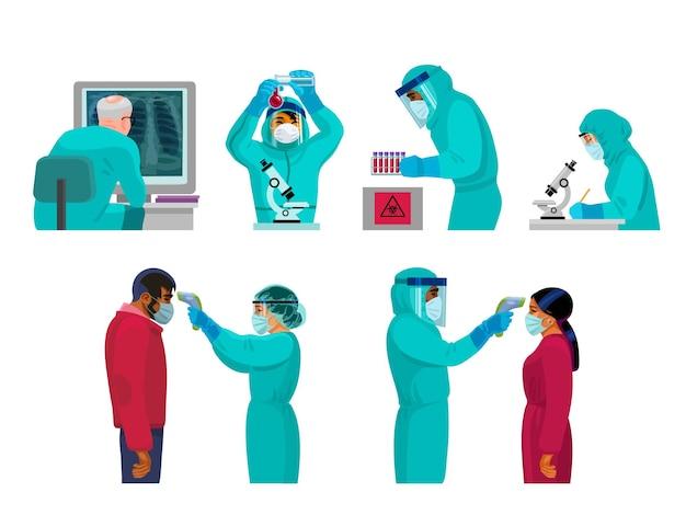 Ärzte in schutzanzügen arbeiten im labor und überprüfen die körpertemperatur