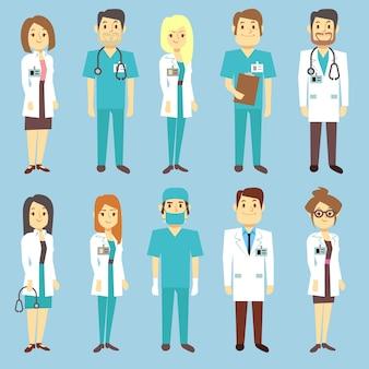 Ärzte krankenschwestern medizinische mitarbeiter menschen vektor zeichen in flachen stil. praktiker und chirurg in uni