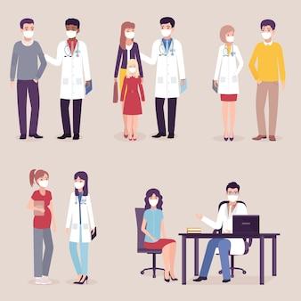 Ärzte, krankenschwestern mit patienten in masken. satz von frauen und männern, die notfallperson besuchen. .
