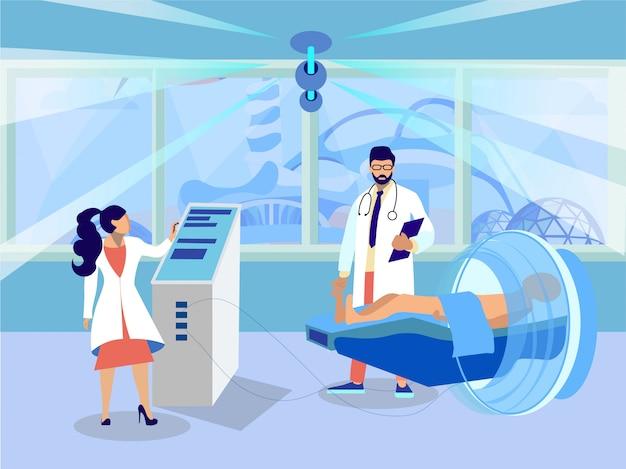 Ärzte machen tomographie test illustration