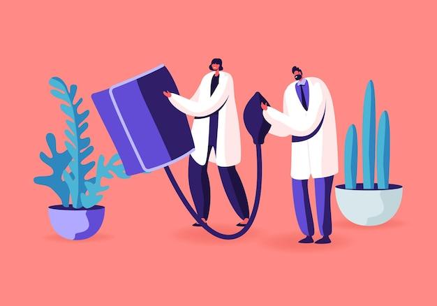 Ärzte mann frau halten riesiges digitales gerät tonometer zur messung des patientenblutdrucks. karikatur flache illustration