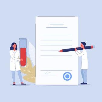 Ärzte mit laborblut-testergebnis und glas-reagenzglas