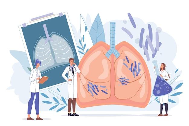 Ärzte mit medizinischen geräten in einheitlichen laborkitteln untersuchen das röntgenfoto