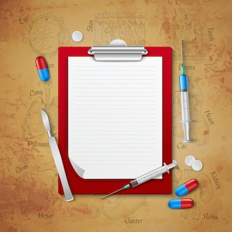 Ärzte-notizbuch-medizinische zusammensetzung