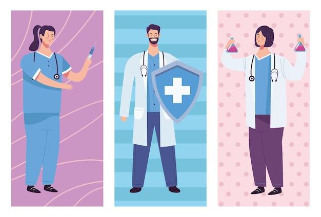 Ärzte-personalgruppe mit schildillustration