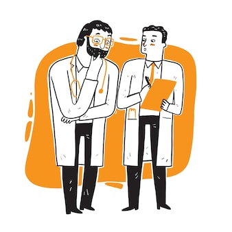 Ärzte stehen und reden. medizinischer digitaler vektor über den arbeitstag der ärzte.