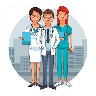 Ärzte team cartoons