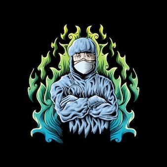 Ärzte tragen schutzkleidung abbildung
