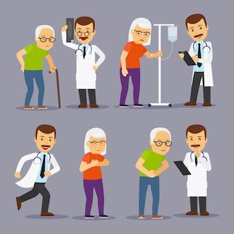 Ärzte und ältere menschen, medizin für alte leute vektor-illustration
